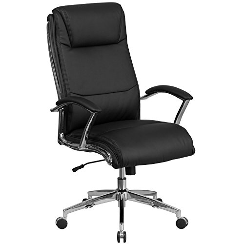 Flash Furniture High Back Designer Black Leather Executive Swivel Chair with Chrome Base and Arms
