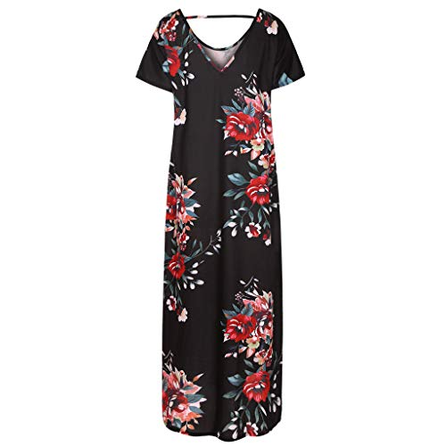 Lloopyting Women's Print Casual Loose Pocket Long Straight Dress Short Sleeve V-Neck Fashion Maxi Dress Black by Lloopyting (Image #3)