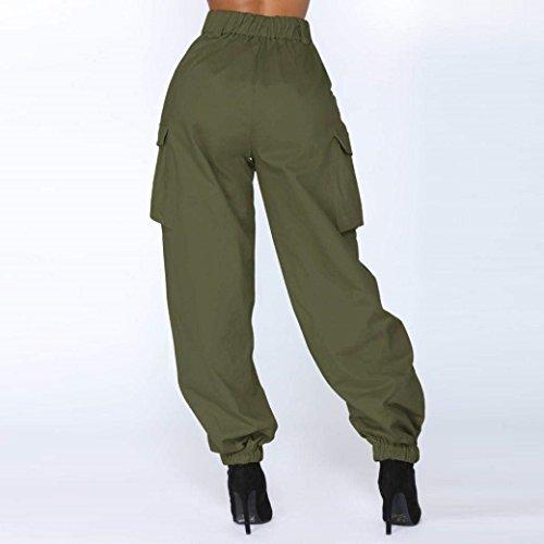 Pantaloni Pantaloni Vita Pantalone Moda Pantalone Elastico Button Glamorous Solidi Con Donne Pantaloni Sciolto Armeegrün Donna HaiDean Hippie Colori Semplice Streetwear Alta A Sportivi Vita t8vBw5q