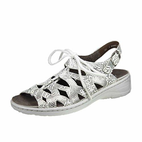 Jenny 22-56550-67 Korfu - Sandalias de vestir de Piel Lisa para mujer Grau Kombi