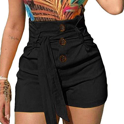 KUFV Women's High Waist Hot Shorts Wide Leg Buttons Pants with Tie Belt Bow Black