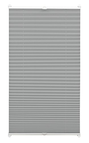 Gardinia Pleated Blind for Clamping, Opaque Folding Blind, Mounting Kit Included, EASYFIX Pleated Blind with Two Operating Rails, Slate, 40 x 130 cm (WxH)
