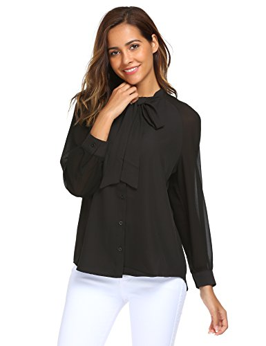 ACEVOG Women Bow Tie Neck Long Sleeve Patchwork Casual Button Down Shirt Black - Black Chiffon Bow