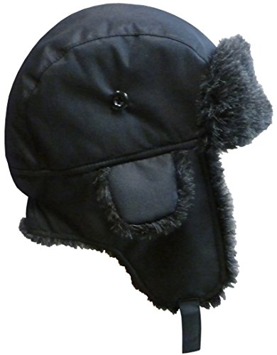 N'Ice Caps Big And Little Boys Taslon Trapper Winter Hat with Big Flaps (3-5yrs, Black Solid) (Three Flap)