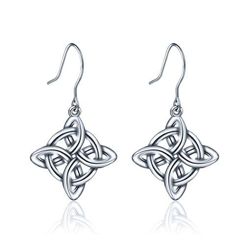 INFUSEU 925 Sterling Silver Irish Celtic Knot Drop Dangle Hook Earrings for Women (Eternity Cross) Celtic Knot Drop Earrings