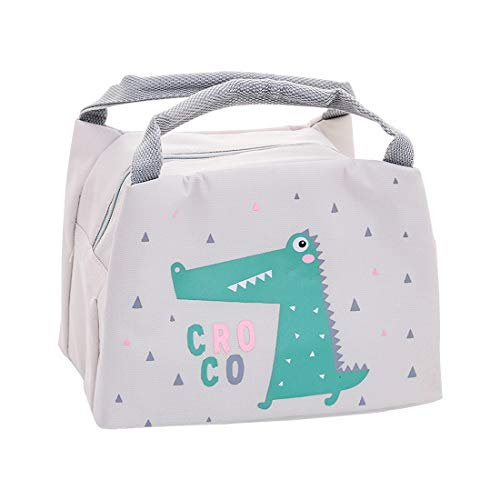 Oyachic Cute Thermal Animal Lunch Bag Insulated Tote Leakproof Zipper Bag with Foil Liner for Office, School and Picnic (crocodile)