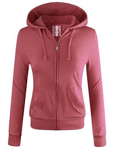 ELF FASHION Women Lightweight Cotton Hoodie Casual Long Sleeve Zip-Up Jacket W/Kangaroo Pocket DARKROSE 2XL