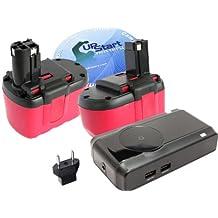 2-Pack Bosch GBH24V Battery + Charger + EU Adapter - Replacement Bosch 24V Battery, Charger and EU Adapter (1300mAh, NICD)