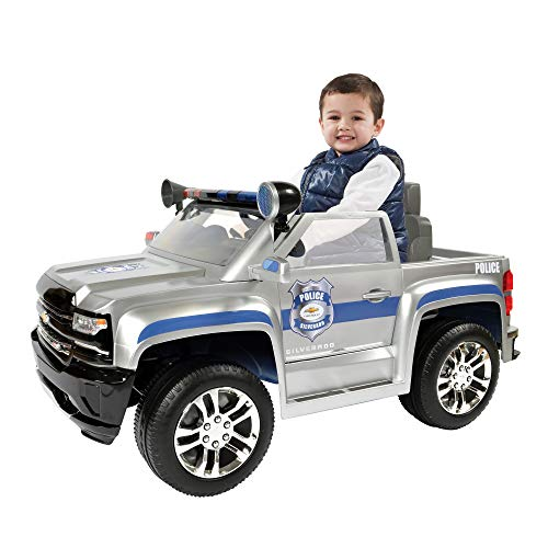 - Rollplay 6 Volt Chevy Silverado Police Truck Ride On Toy, Battery-Powered Kid's Ride On Car