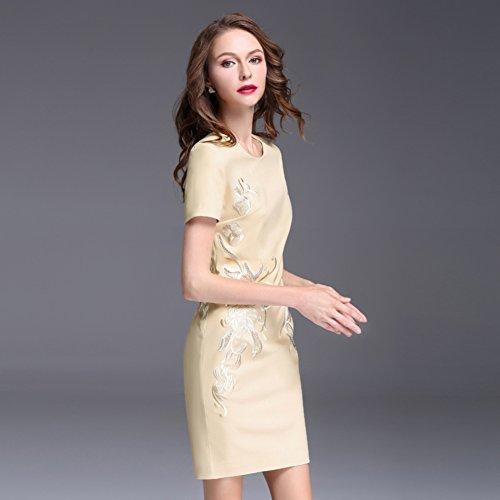 Formal Scoop cotyledon Dresses Short Gowns Sleeve Womens Short Neck Ball Beige 5wwqZTU
