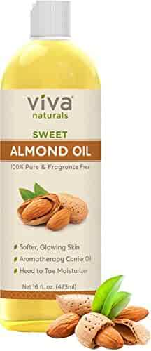 Viva Naturals Sweet Almond Oil, Hexane Free for Skin and Hair, 16 oz / 473 ml