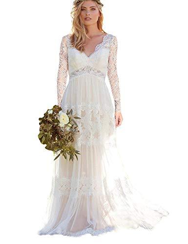 Bellis Women's V Neck A Line Lace Bridal Gown Long Sleeve Backless Lace Wedding Dresses Vestido De Noivas B047