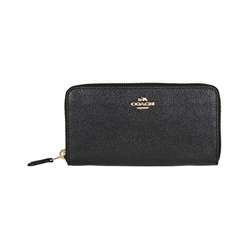 COACH Women's Crossgrain Leather Accordion Zip Wallet Li/Black Wallets