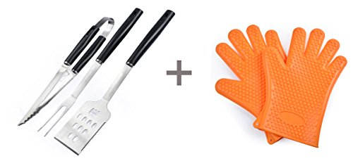 Miao Pan Bbq Tool Set+bbq gloves, Outdoor Barbecue Essential, Exquisite Fashion, Health and Hygiene by Miao Pan