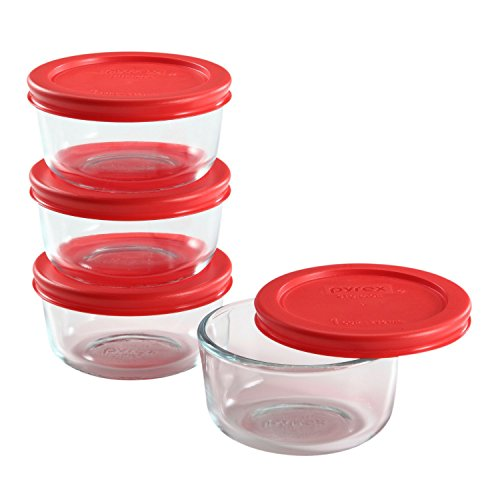 Pyrex 8 Piece Simply Store Glass Food Storage Set, Red (Glass 1)