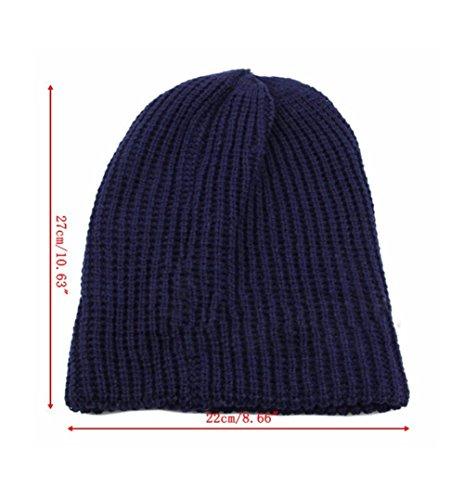 Leisial Gorras de Punto Al Aire Libre Sombrero de Punto Invierno de Esquí Beanie Hat para Hombres Rojo oscuro
