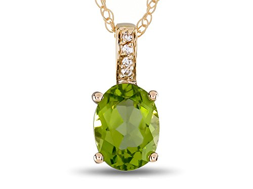 (LALI Classics 14k Yellow Gold Peridot Oval Pendant Necklace)