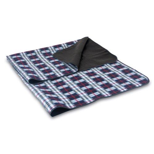 Picnic Time Black Plaid Blanket Tote