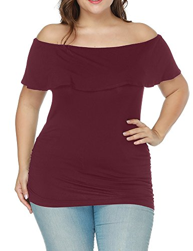 Allegrace Women Ruffle Short Sleeve Off The Shoulder Tunic Top Plus Size Tee Shirt Wine 1X