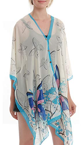 Womens Casual Cover Ups Lightweight Chiffon Scarf Swimsuit Fashion Dress Blue Butterfly -