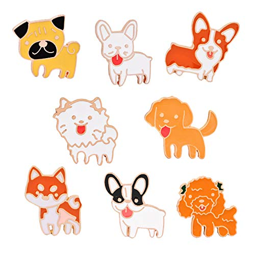 JLJ Cute Dog Enamel Lapel Pin Cartoon Animal Enamel Pin Set of 8 Lovely Puppy Set (Puppy Dog Pin)