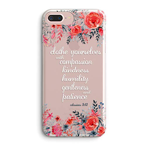 iPhone 5s Case,iPhone SE Case,Floral Flowers Bible Verses Inspirational Quotes Cute Girls Women Colossians 3:12 Clothe Yourselves Blooms Roses Clear Soft Case Compatible for iPhone SE/iPhone 5S (Iphone 5s Case Beach Quotes)