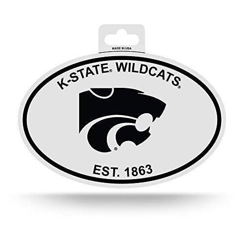 (NCAA Kansas State Wildcats Black and White Team Logo Oval Sticker)