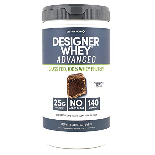 Designer Whey Grass Fed Protein Powder, Chocolate Fudge, 1.85 Pound, Non GMO
