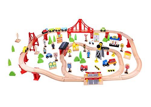 Fat Brain Toys Wooden Express 100 Piece Train Set ()