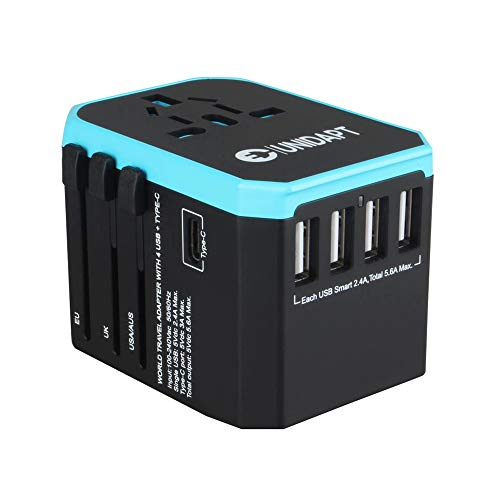 Universal USB Travel Power Adapter - UNIDAPT All in One Wall Charger International Plug Adapter for USA EU UK AUS Asia with 4-USB 5.6A+ Type C Smart Charging Port (Blue)
