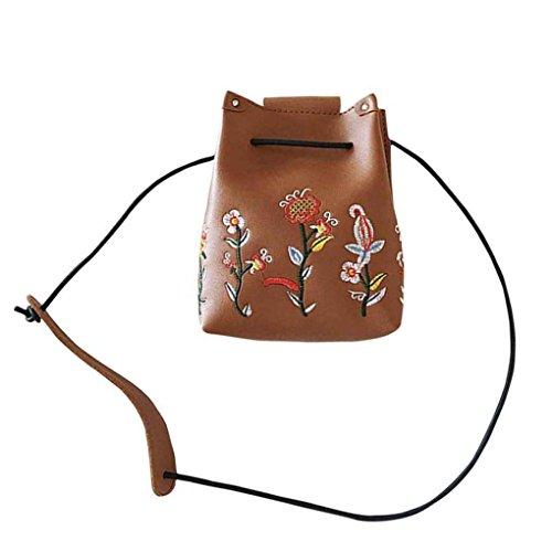 Sac d'épaule Broderie de fleurs femmes fille unique sac à bandoulière fermeture à boucle PU mode Sacs à bandoulière Messenger sac à main Mengonee Marron
