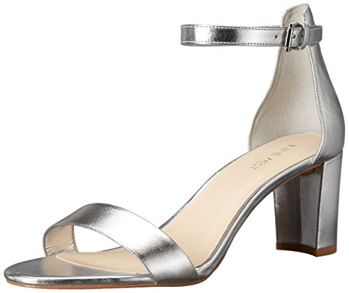 Silver Patent Leather Ladies Sandals - Nine West Women's pruce Patent Dress Sandal, Silver, 7 M US