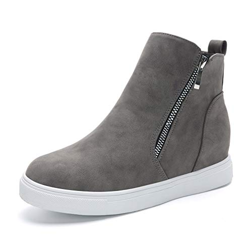 (XMWEALTHY Women's Wedge Platforms Shoes Casual Suede High Top Platform Fashion Sneakers Grey US 7.5)