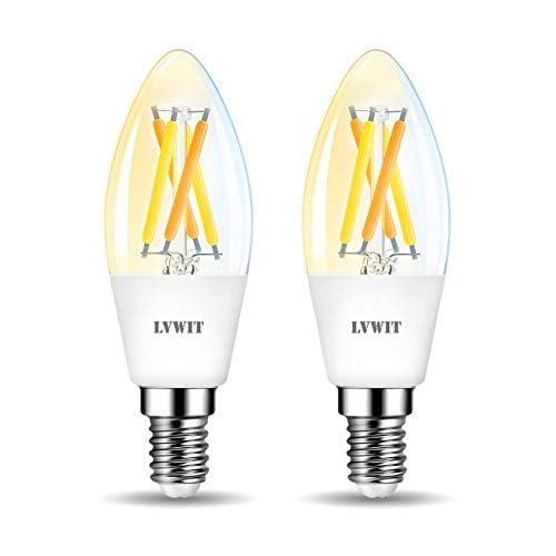 chollos oferta descuentos barato LVWIT Bombillas Inteligente LED Vela Filamento WiFi Regulable 4 5W 470 LM Lámpara E14 Bombilla Funciona con Alexa Google Home Assistant y App Smart Life Tuya C35 Equivalente a 40W 2 Pcs