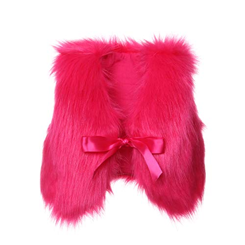 - XBRECO Toddler Girl Faux Fur Vest Coat Winter Warm Waistcoat Outerwear (12-24 Months, Rose Red)