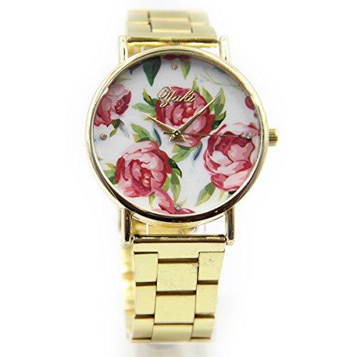 Yaki Neu Goldene Damenarmbanduhr Goldfarben Quarz Uhren Damen Rosenmuster Zifferblatt mit Metallband Marken