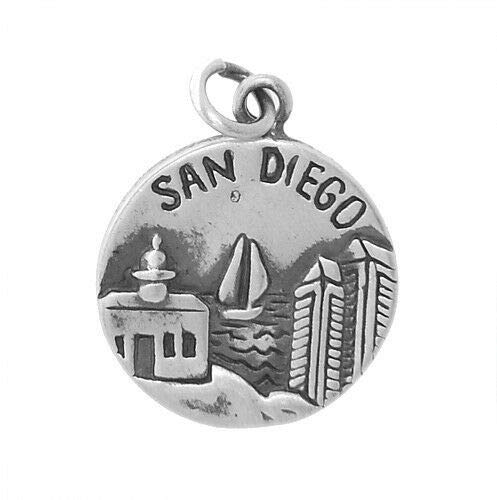 Sterling Silver SAN Diego America's Finest City Charm/Pendant Fashion Jewelry for Women Man