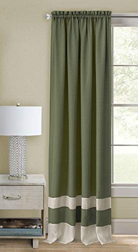 - Ben & Jonah PrimeHome Collection Darcy Rod Pocket Window Curtain Panel-52x63-Green/Camel, Green/Camel