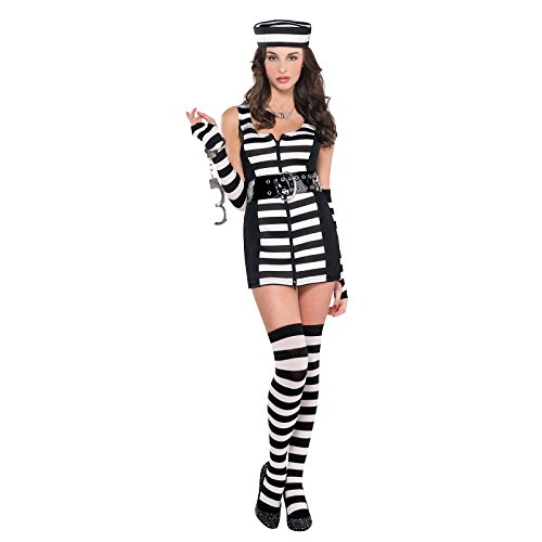 Sexy Guilty Prisoner Costumes (Adult Women's Guilty Black White Sexy Prisoner Inmate Fancy Dress Party Costume (Small 2-4))