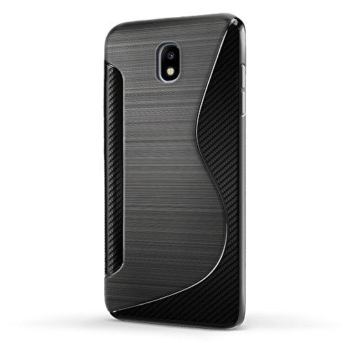 SLEO Funda para Samsung Galaxy J7 2017 [European Version] Slim Fit TPU Carcasa de Parachoques Case Traslúcido Suave con Absorción de Impactos y Resistente a los Arañazos para Samsung Galaxy J7 2017 [E Negro