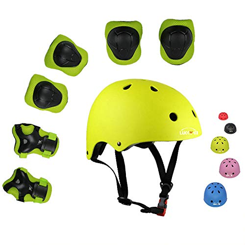 Lucky-M Kids Outdoor Sports Protective Gear,Boys and Girls Safety Pads Set [Helmet,Knee&Elbow Pads and Wrist Guards] for Roller, Scooter, Skateboard, Bicycle(3-8 Years Old) (Green)