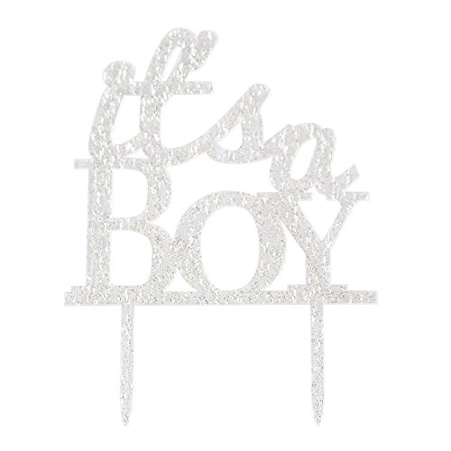 Glitter Acrylic It's A Boy Cake Topper, Baby Shower Decoration Birthday Party Favors Christening Photo Props (Silver) ()