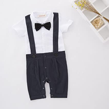40ef5b076 Baby Boy Infant Formal Cute Tuxedo Suit Wedding Christening Smart Rompers  Bodysuit Onesie Babygrow Outfit Sets UK Seller (6-12 Months, Blue):  Amazon.co.uk: ...