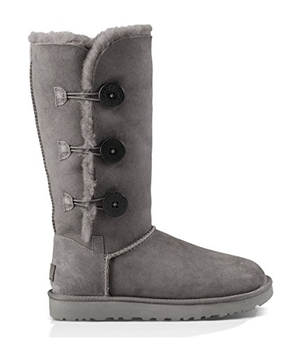 UGG Women's Bailey Button Triplet II Winter Boot, Grey, 8 B US (Ugg Women Wedge Boots)
