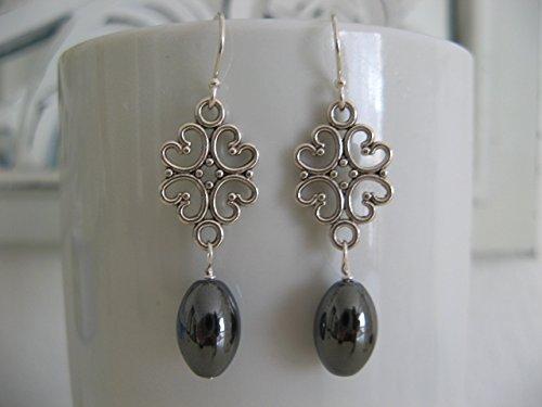 - Hematite Gemstone Filigree Metal and Sterling Silver Earrings Jewelry