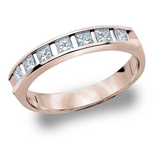 18K White Gold Diamond Princess Cut Bar Set Ring (.50 cttw, E-F Color, VVS1-VVS2 Clarity) Size - Princess Diamond Cut Bar Set