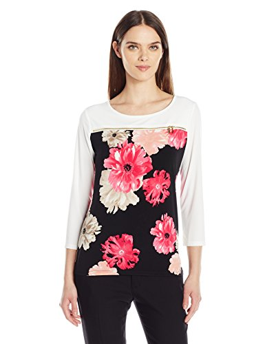 Calvin-Klein-Womens-Plus-Size-34-Sleeve-Printed-Top-with-Zipper