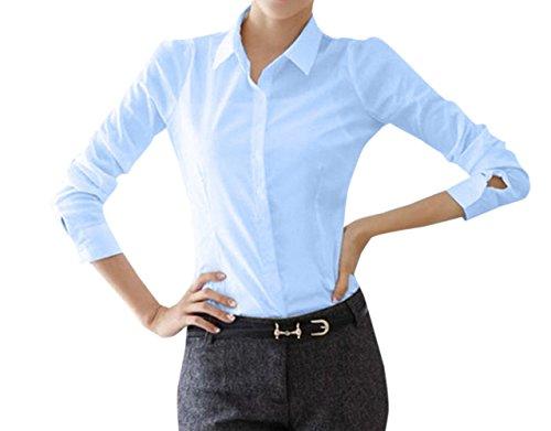JackenLOVE Shirt Blouse Haut Courtes t de Bureau Bleu2 Femme Revers Fashion Unie Chemisiers Couleur Tee Tops Slim Casual Manches qqTr40wS