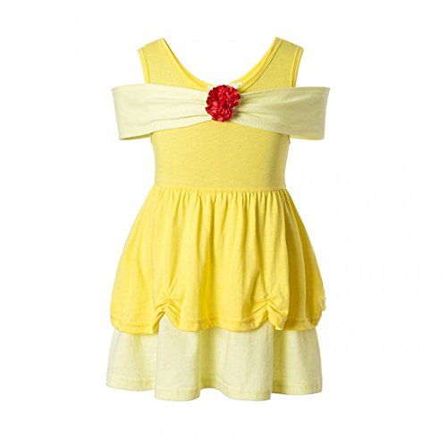 Girls' Belle Princess Costume Halloween Party Fancy Dresses (7, Yellow)