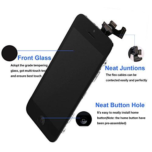 For iPhone 5 Screen Replacement With Home Button, Black- MAFIX Full Pre-assembly LCD Display Digitizer Touch Screen Kit Include Repair Tools & Screen Protector by MAFIX (Image #1)